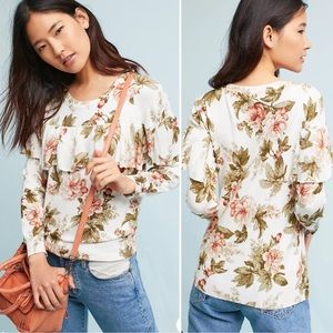 Anthropologie Harlyn Ritchie Floral Ruffle Sweater